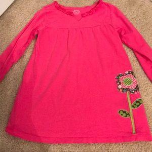 Ruffled Collar Neck Pink Dress